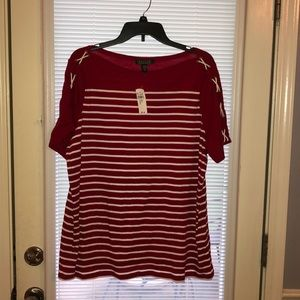 Lauren Red and White Striped Top